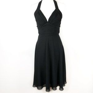 White House Black Market Halter Black Dress Size 2